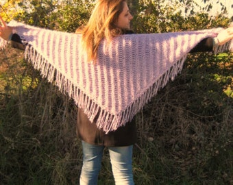 Shiny Lilac Shawl - Warm Fringed Triangle Neckwarmer, Scarf, Cowl - GIFT for HER - Ready to Ship