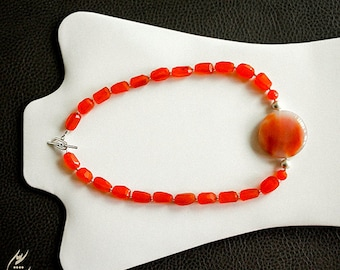 Indian Orange Carnelian Gemstone Necklace, Persian Brown Orange Agate Pendant, Sterling Silver Necklace, Statement Jewelry, Modern Style