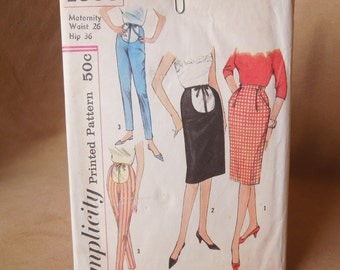 Vintage 50's Maternity Pattern, Simplicity 4005, Pencil Skirt and Cigarette Pants, Waist 26,  Rockabilly Mad MenStyle
