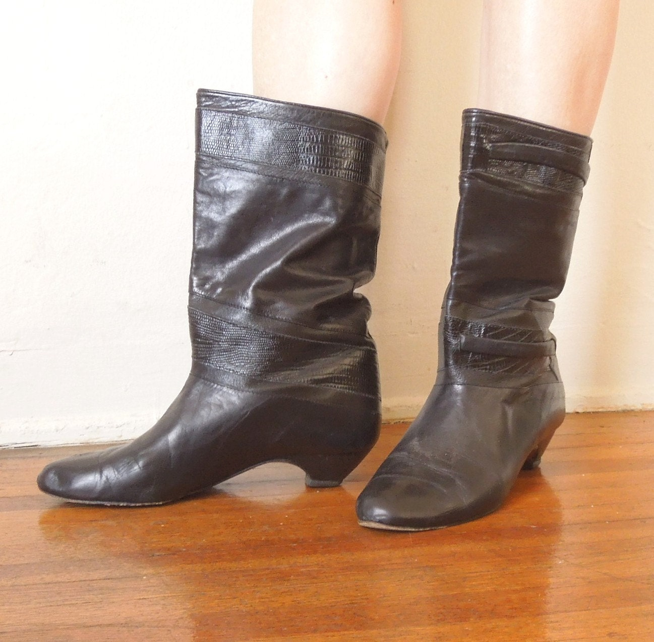 vintage black boots kitten heel mid calf leather size 8 5