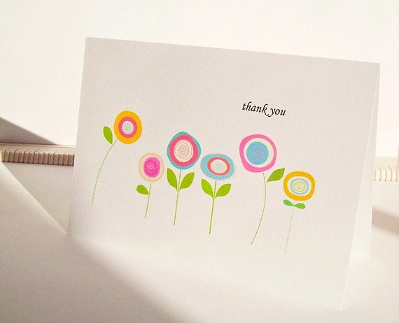 Bright Thank You Cards - Poppy Flower Thank You Notes,  Pastel Poppies Yellow Aqua Lavender Blush Pink, Thank You or Thinking of You Cards
