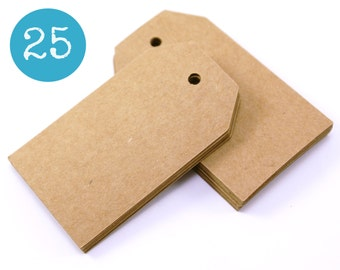 Kraft gift tags - 25 KRAFT BROWN sturdy cardstock parcel tags, hang tags - 1 9/16 x 2 3/4 - gift wrapping, wedding, packaging