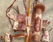 "Multifunctional Tooled Leather Quiver Set Holding a Bow with a Detachable Pouch and Detachable Backpack ""Nicole"""