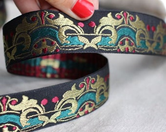 Kings High Court Jacquard woven ribbon in GOLD Green and Maroon on Black