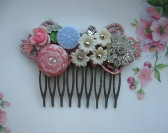 In Grandmother's Attic we found..vintage glass rhinestone bridal shabby chic french hair comb