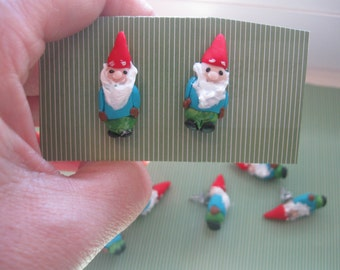Woodland Gnomes.handsculpted mininature post earrings