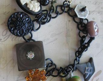The Haunted Mansion.vintage assemblage one of a kind halloween bracelet