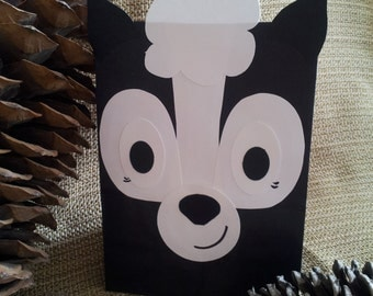 Skunk Treat Sacks - Woodland Forest Hunter Wildlife Theme Birthday Party Goody Favor Bags by jettabees on Etsy