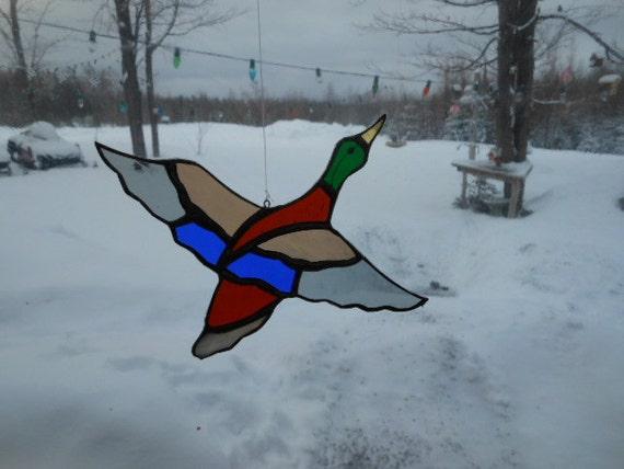mallard flying II, stained glass suncatcher
