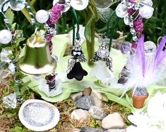 Wedding Fairy Garden, Enchanted Wedding, Bride & Groom, Bell, Seashell w/ Fairy Dust, Feather Plant, Pond, Decorative Tree, Wedding Decor