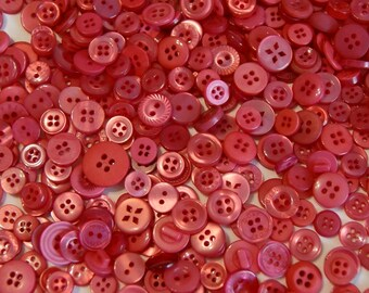 200 pink buttons, Small Watermelon Pink Buttons - Assorted Size buttons (232 As)