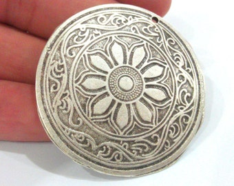 1 Pc (45 mm) Oxidized Silver Plated  Medallion  Pendants G1287