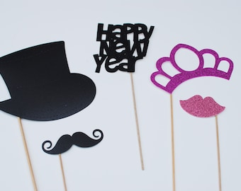 2014 New Years Party Photo Prop mustache on a stick mustache on a stick photo prop Assembled set 5 piece set