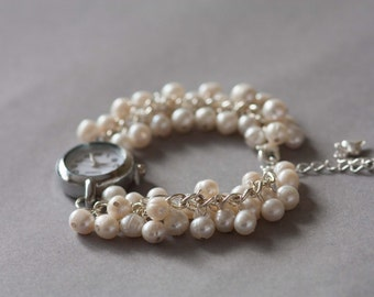 Ivory freshwater pearl bridal bracelet watch, bridal gift.