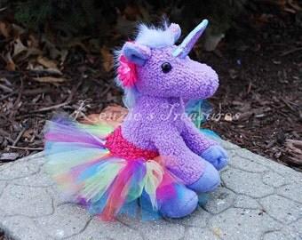 Purple Rainbow Unicorn Plush with Removable Tutu and Daisy Hair Clip