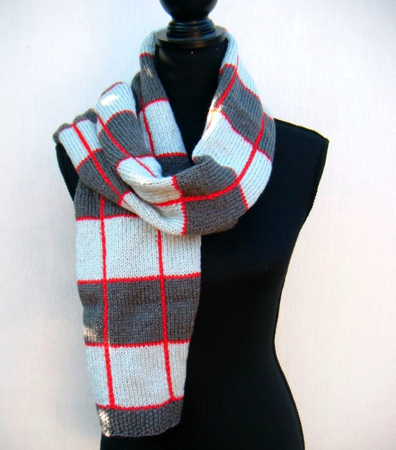 Plaid Scarf, Red Square, Hand Knit Scarf, Tartan Pattern, Men's Scarf, Women's Scarf, Lumberjack- Slate Gray, Red, Light Gray