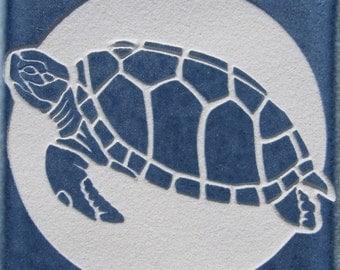 4x4 Green Sea Turtle - Etched Porcelain Tile - Coaster - SRA
