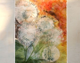 "Abstract floral original watercolor painting, white thistle, salmon, coral and green, 16""x20"""