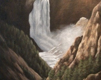 Grand Canyon Of Yellowstone Lower Falls, Waterfall, Wyoming, Mountain, Tree, River, Summer, Western, Original Landscape Oil Painting