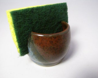 Pottery sponge holder with BLUE and IRON RED glaze