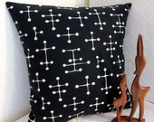 Eames Mid Century Pillow Cover - Retro Pillow Cover -  Small Dot Black - Black and Cream -- Choose your Size