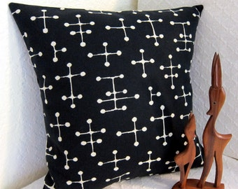 "Eames Mid Century Pillow Cover - READY TO SHIP - Retro Pillow Cover -  Small Dot Black - Black and Cream - 17"" x 17"""