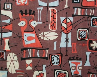 "Retro Tiki Barkcloth Pillow Cover - Hawaiiana Polynesian Hukilau Luau - Boho - 17"" x 17"" for 18"" pillow insert"