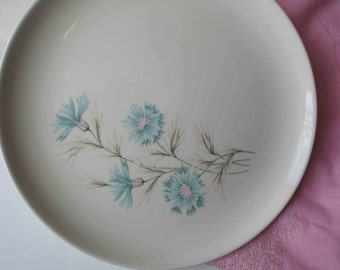 Vintage Taylor Smith Taylor Ever Yours Boutonniere Pink and Aqua Floral Dinner Plates Set of Four