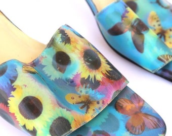 90s 00s Psychedelic Butterfly Floral Hologram Open Toe Heels