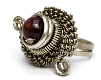 Garnet Ring, Wire Wrapped Ring, Steampunk Ring, Bohemian Ring, Metalwork Ring, Gemstone Ring, Twist Ring, Stone Ring, Silver Ring