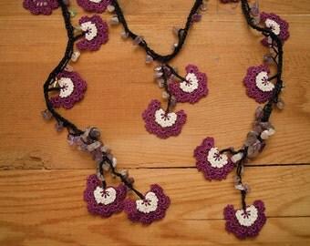 crochet flower necklace, purple white black