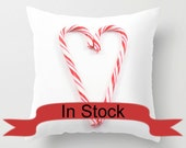 Red Christmas Cushion Covers ~ Candy Cane ~ Holiday Pillow, Modern Home Design, White, Heart, Make it Festive, Hostess Gift Idea for Boss