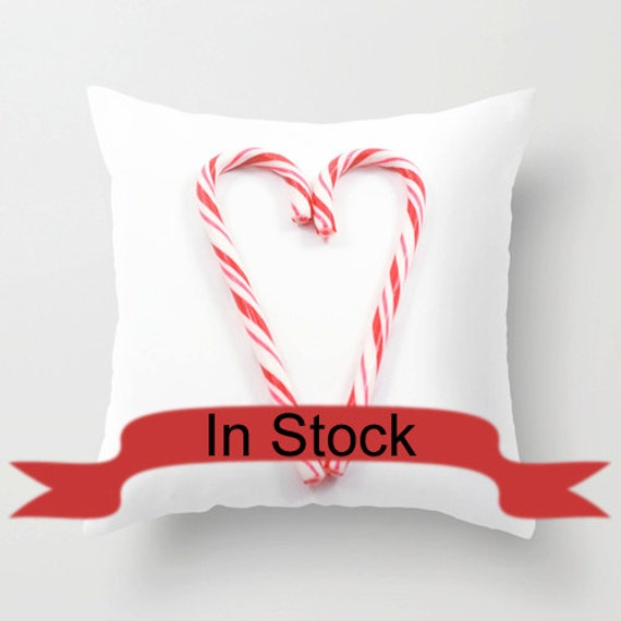 Red Christmas Pillows Candy Cane Modern by CrystalGaylePhoto