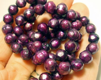 Fresh Water Pearl Faceted Beads - Oval 7mm x 6mm - 61 Beads - Incredible Magenta Eggplant Purple Color Enhanced