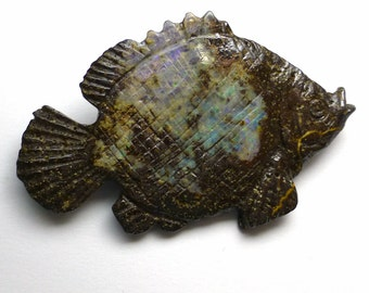 Boulder Opal Fish 3D Carved Large Nauticle Sea Life Beach RARE Natural Australian Australia