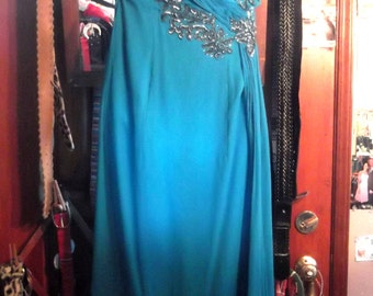 1960s Blue Chiffon Gown w Sequins & Rhinestones, sz M