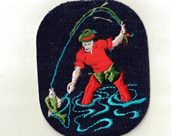 Fisherman Fly fishing Retro New Vintage Sewing Patch Applique 1970's