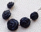 Brand New, 5 Pcs, Set, 2 Matched Pair and 1 Focal, Rose Flower, BLACK SPINAL, aprx.10-14mm Carving Rose Flower Briolettes SET,.