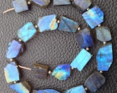 Brand New, Amazing Natural BLUE FLASHY LABRADORITE Hammered Rock Full Drilled Nuggets, 10-20mm,Full 8 Inch Strand,Amazing Rare Item