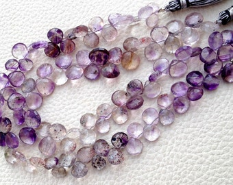 Brand New, 1/2 Strand,MOSS AMETHYST Faceted Heart Shape Briolettes,Aprx. 8-9mm Size, Amazing Rare Quality at Low Price