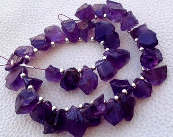 Brand New, Amazing AFRICAN AMETHYST Hammered Rock Nuggets TIP Drilled ,10-12mm,Full 8 Inch Strand,Amazing Rare Item