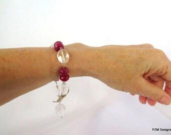 Large ruby bracelet with crystal quartz stations, ruby tennis bracelet, fine jewelry