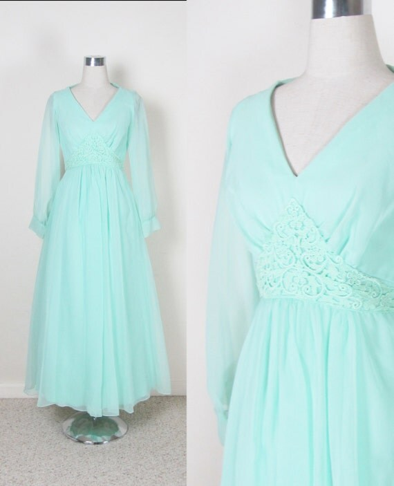 Vintage 1970's  Maxi Dress / Mint Green Party Dress