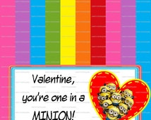 """Valentine, you're one in a minion! Bag Topper ~ 4x4"""" INSTANT DOWNLOAD ~ You Print"""