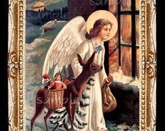 Christmas Angel Miniature Dollhouse Art Picture 1635