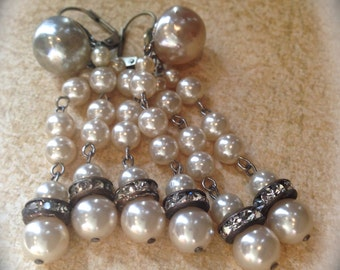 Pearl Chandelier Tassel Earrings- Vintage dangle earrings- Bridal Vintage Ivory Cream Pearl Earrings- Victorian Costume Earrings