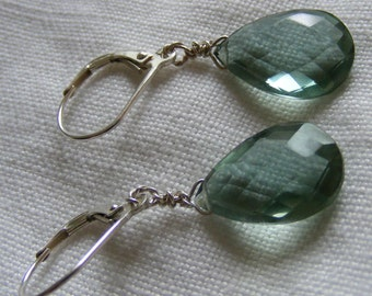 Large, Faceted Pale Green Quartz Briolette Earrings on Sterling Silver Earwires
