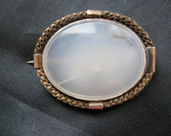 Victorian Chalcedony Hair Mourning Brooch