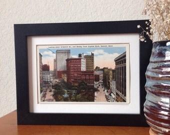 Griswold Street, Detroit, Michigan - framed vintage postcard
