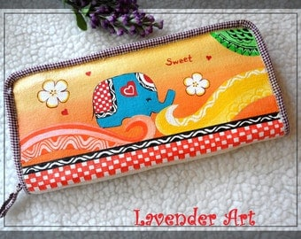 Elephant with patters wallet,cute elephant wallet,stylish wallet-Lavender Handmade